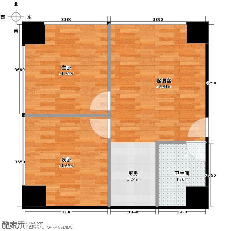 汇锦城95.20㎡25#户型2室1卫