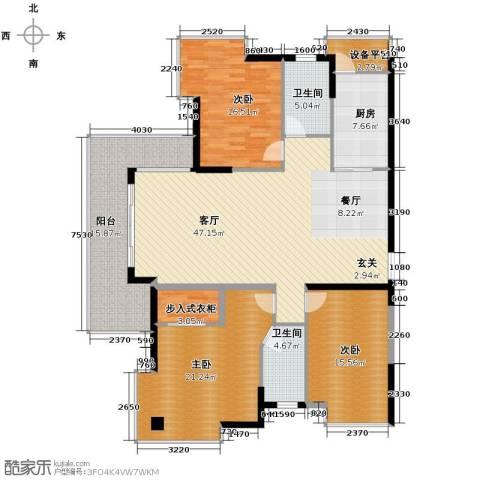 梦琴湾3室1厅2卫1厨152.00㎡户型图