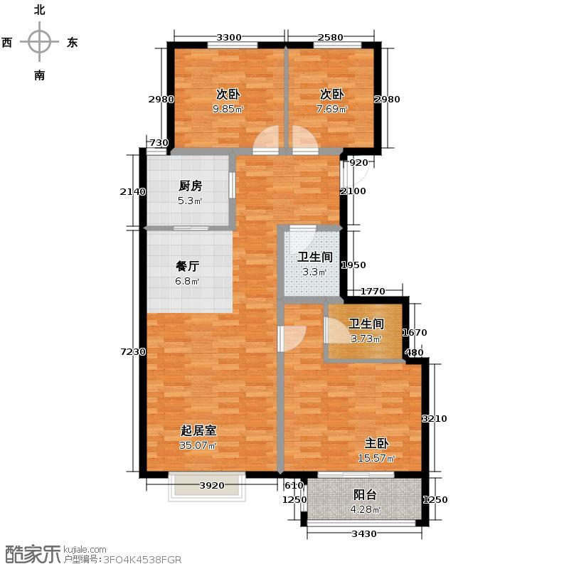 汇锦城116.82㎡和平时光13#D户型3室2卫1厨