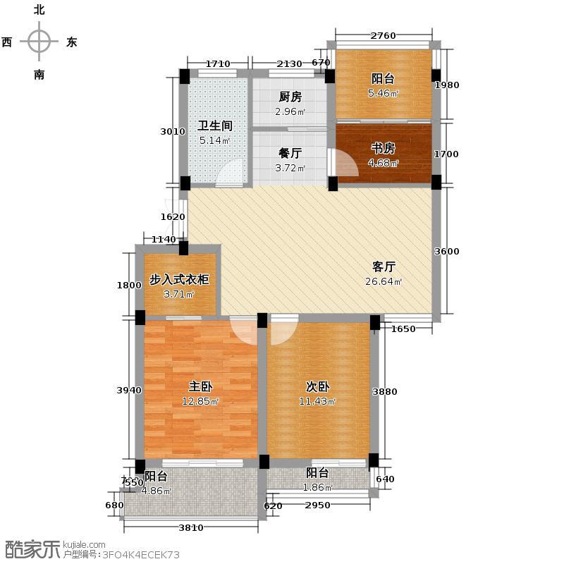 鸿港华庭89.60㎡c户型3室1厅1卫1厨
