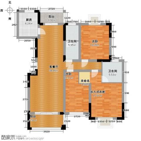 博雅湘水湾2室1厅2卫1厨141.00㎡户型图