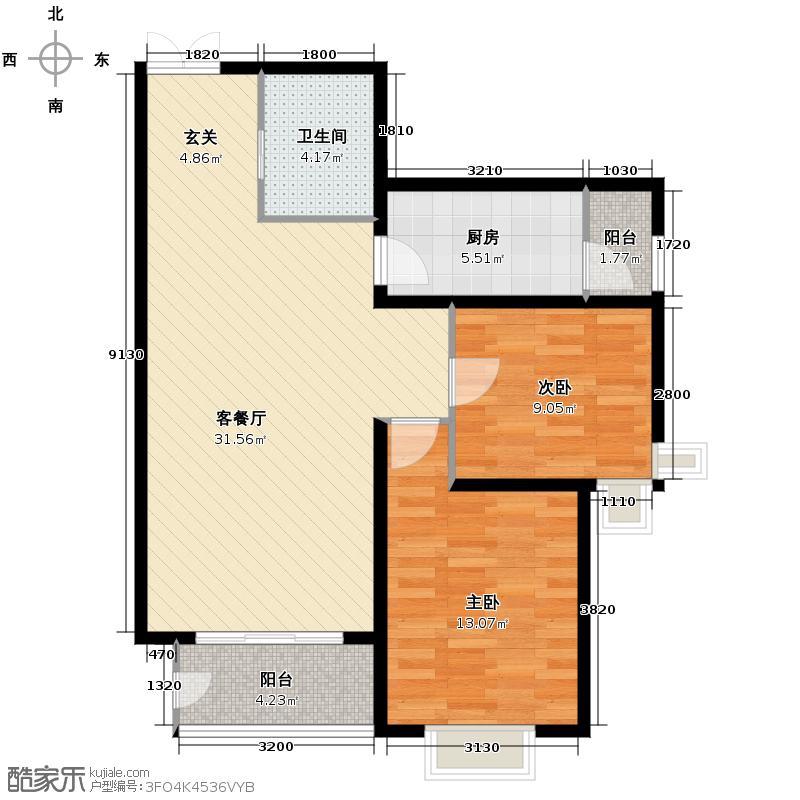 汇锦城93.88㎡和平时光11-M6户型2室1厅1卫1厨