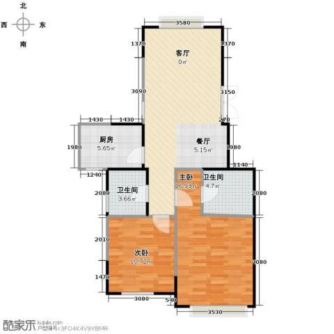 金域兰庭2室1厅2卫1厨89.00㎡户型图