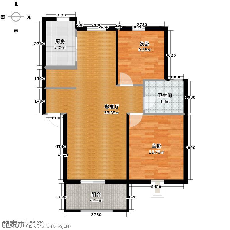 塘栖金石华城89.00㎡D-7户型2室1厅1卫1厨