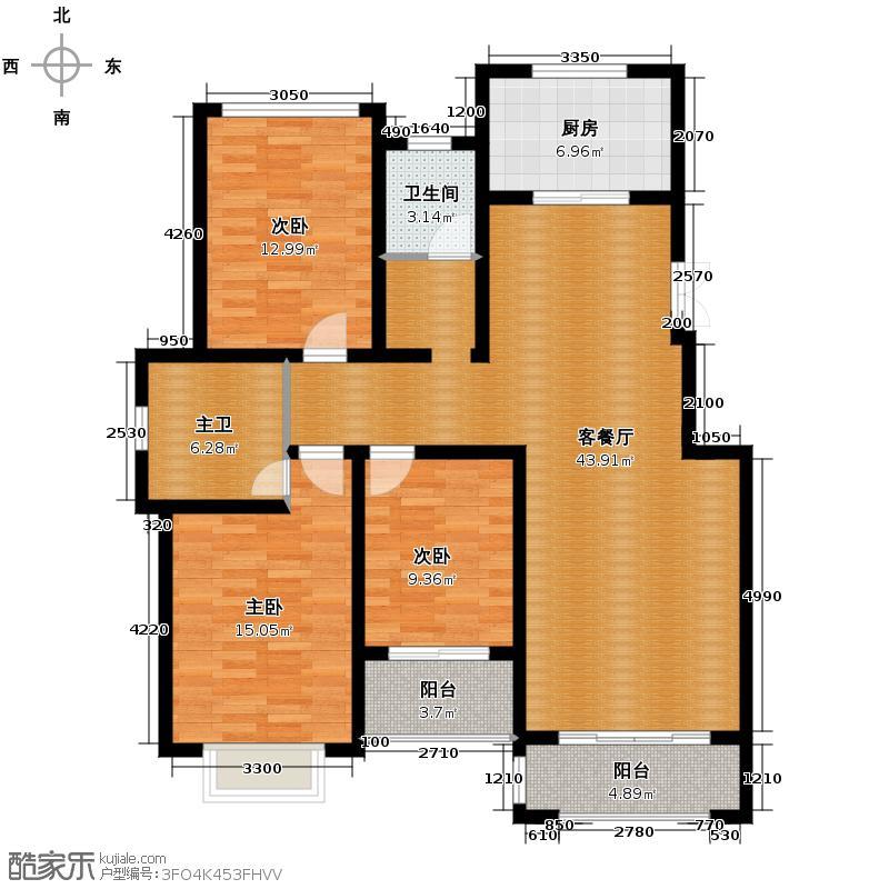 汇锦城143.17㎡豪门府邸10#3-4层A户型3室1厅1卫1厨