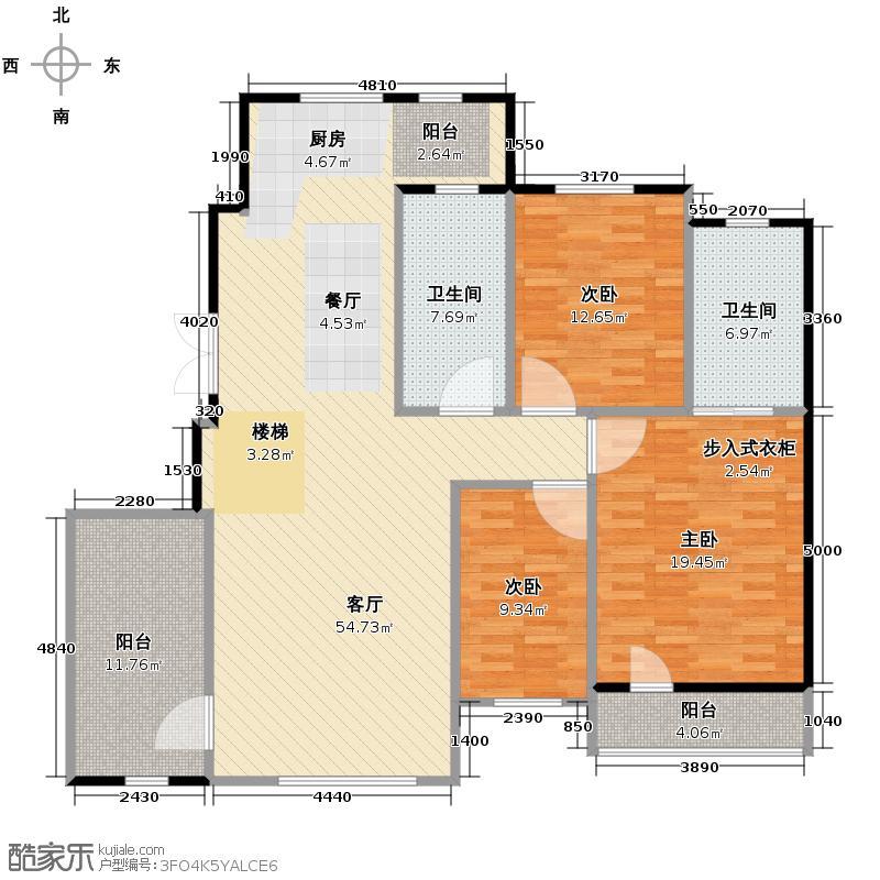 中国铁建国际花园130.00㎡二期HD+户型6室2厅2卫