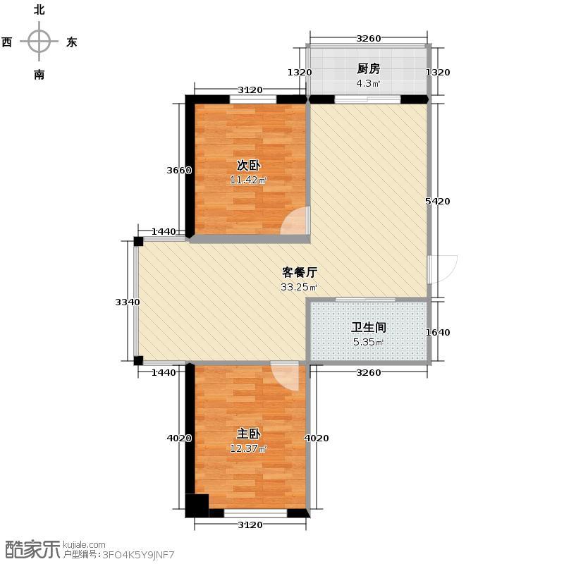 东方之珠龙腾苑91.00㎡高层A户型2室2厅1卫