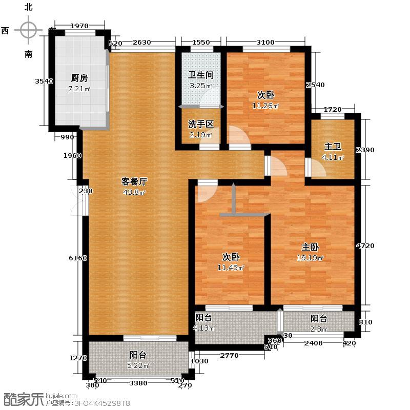 汇锦城149.29㎡豪门府邸11#2-6层C户型3室1厅1卫1厨