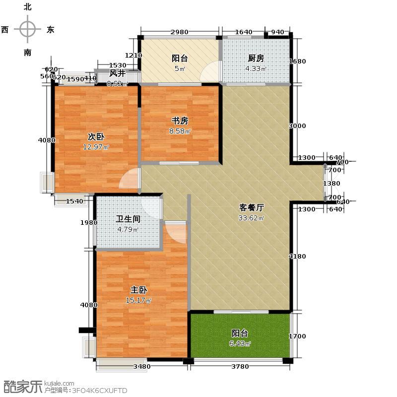 万振城市广场122.00㎡住宅A户型3室2厅1卫