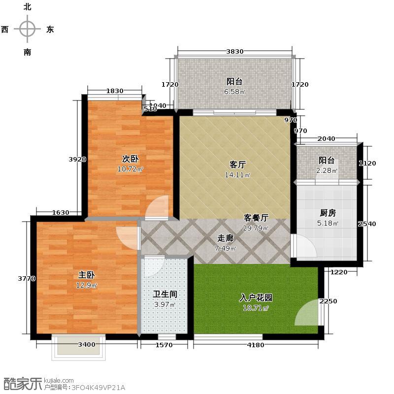 汇锦城76.85㎡东山绿景・波拉小城B1户型2室1厅1卫1厨