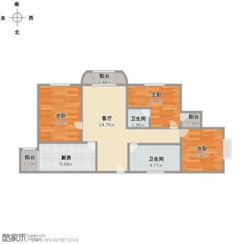 虹口现代公寓3室1厅2卫1厨57.06㎡户型图