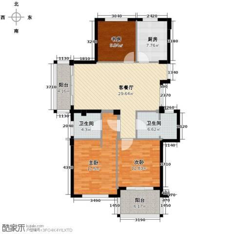 曙光之城3室1厅2卫1厨125.00㎡户型图