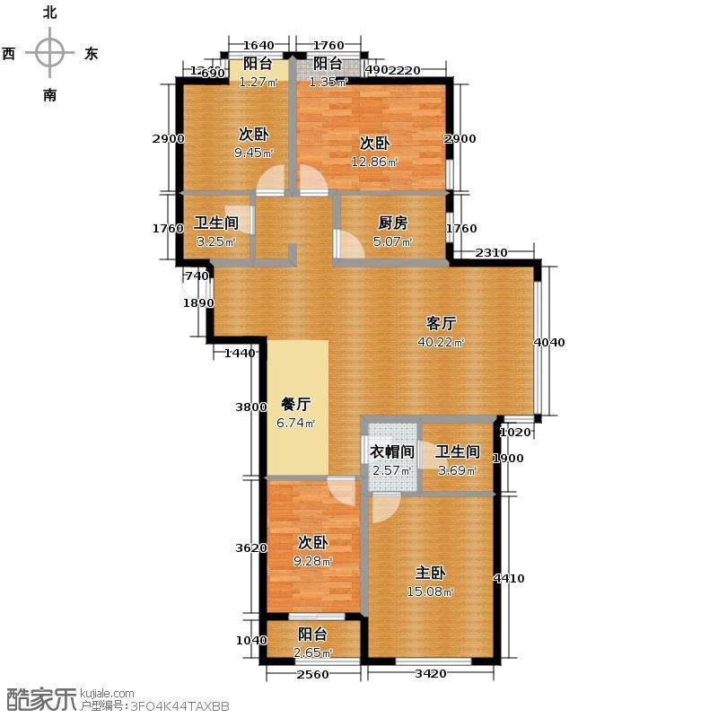 汇锦城147.93㎡紫玉名苑M4-户型4室1厅2卫1厨