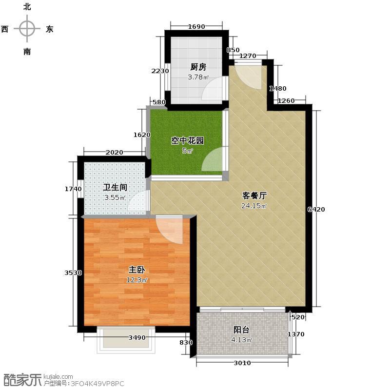 汇锦城58.65㎡东山绿景・波拉小城A2户型1室1厅1卫1厨