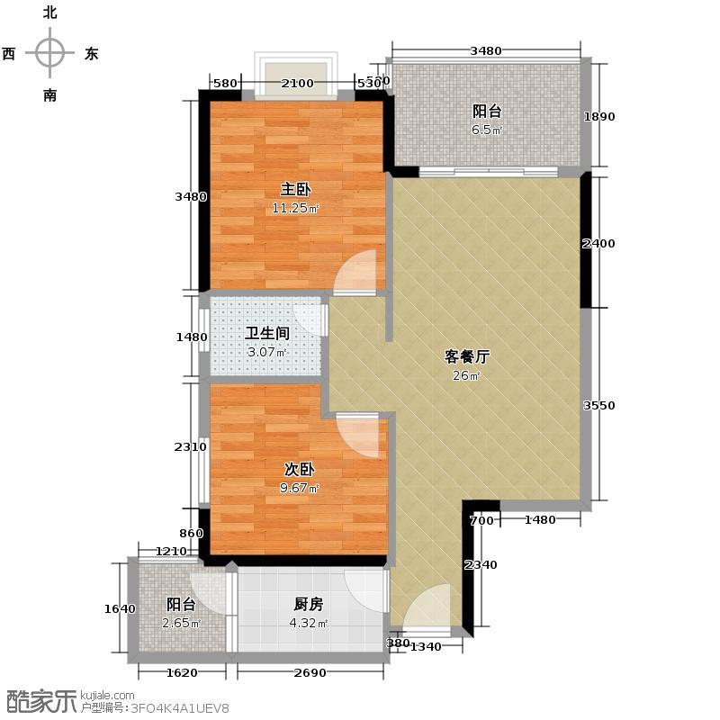 汇锦城70.89㎡南海佳园户型2室1厅1卫1厨