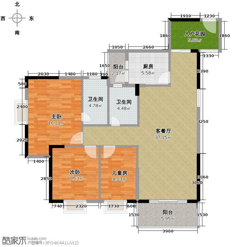 汇锦城119.62㎡南海佳园C户型3室1厅2卫1厨