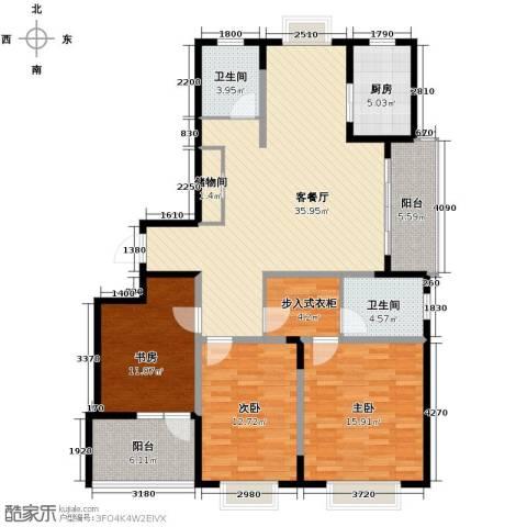 发展今日嘉园3室1厅2卫1厨134.00㎡户型图