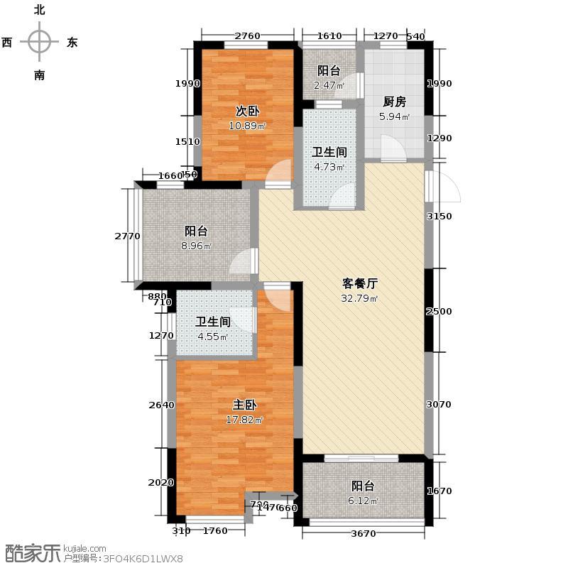 金辉枫尚123.00㎡A户型2室2厅2卫