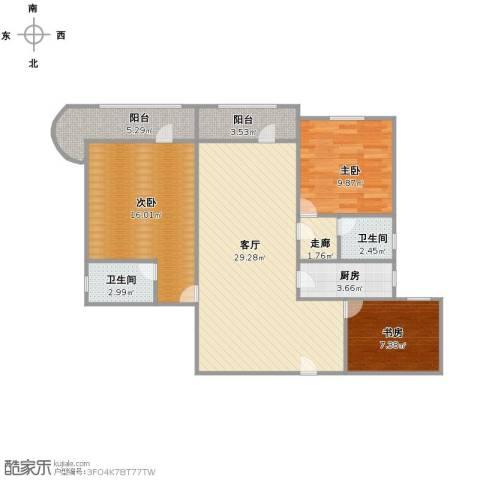 兰港大楼3室1厅2卫1厨112.00㎡户型图
