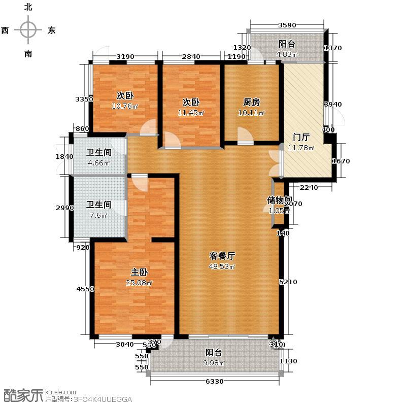凯德龙湾178.00㎡B1户型3室1厅2卫1厨