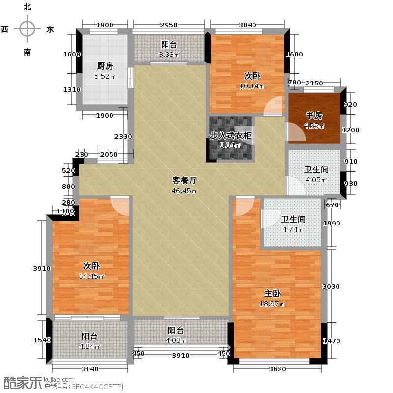 融科天城164.00㎡T18栋户型4室1厅2卫1厨