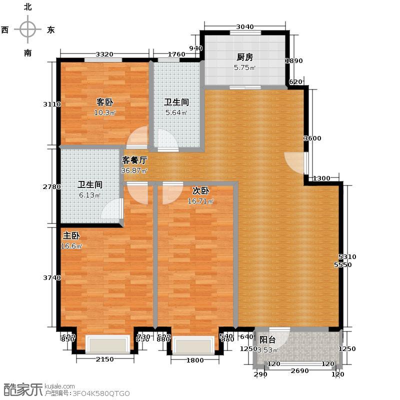 保利花园111.54㎡C户型3室1厅2卫1厨