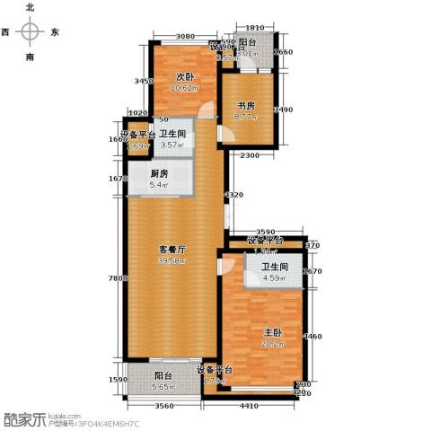 绿城玉兰花园3室1厅2卫1厨137.00㎡户型图