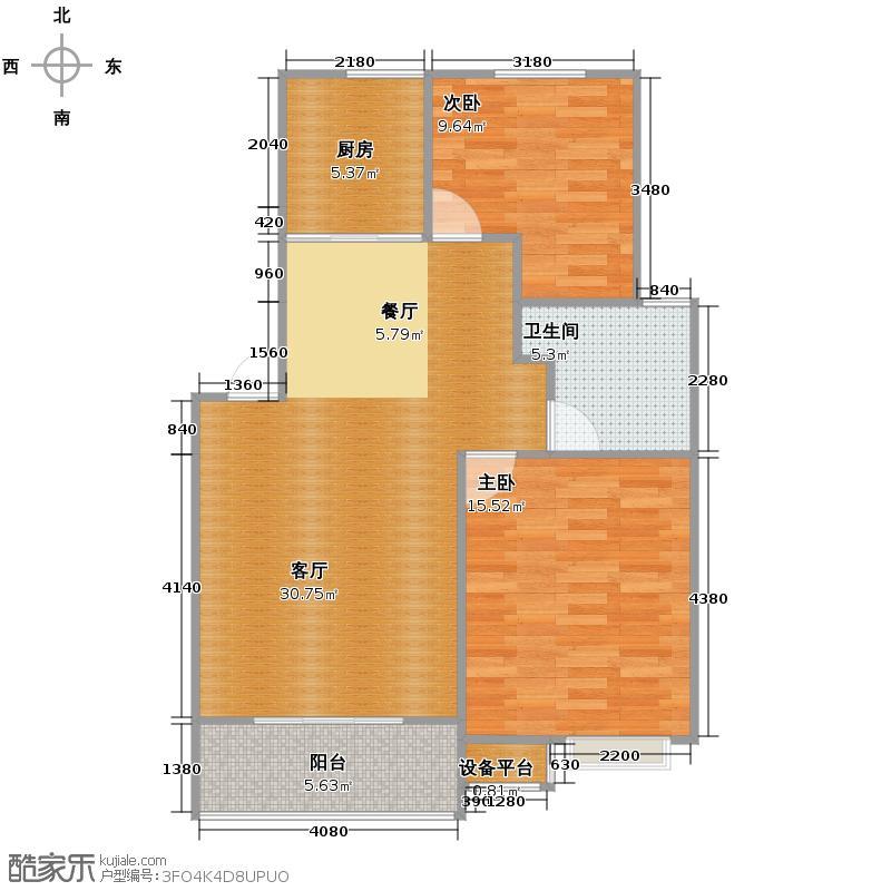 广大同城印象84.00㎡a(售完)户型2室1厅1卫1厨