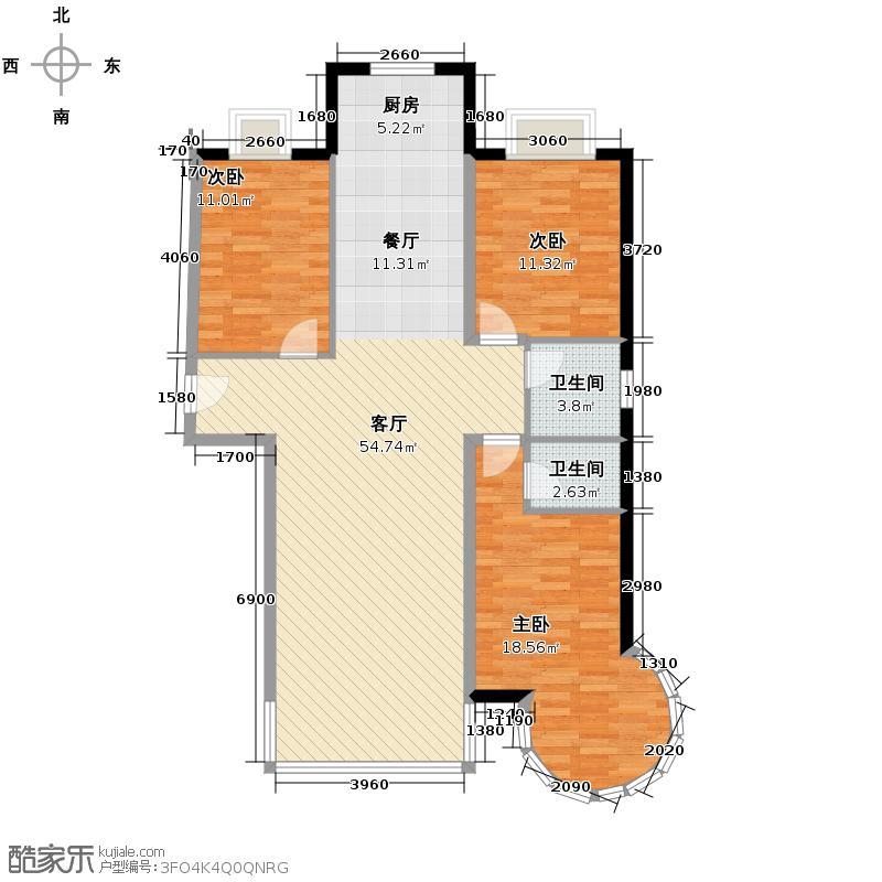 三汇沁园129.90㎡2、4、8、21号楼E2户型3室1厅2卫