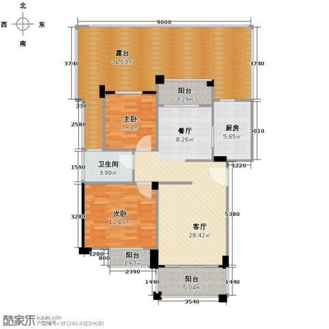 南沙碧桂园2室1厅1卫1厨136.00㎡户型图
