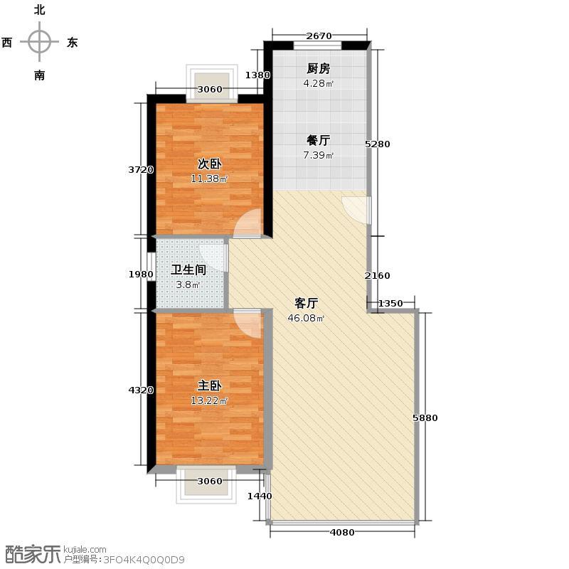 三汇沁园111.14㎡5、11、12、14、16、18、20、22号楼I户型2室1厅1卫