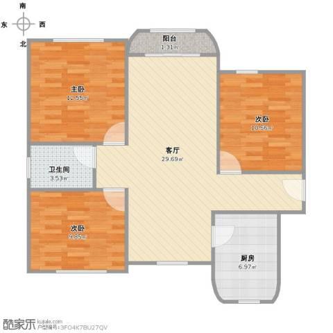 新梅绿岛苑3室1厅1卫1厨101.00㎡户型图