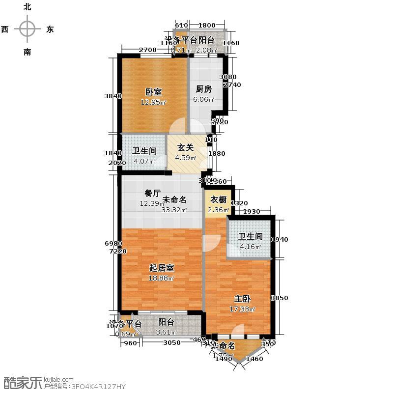世纪东方城105.80㎡7号楼D(2居)户型1室2卫1厨
