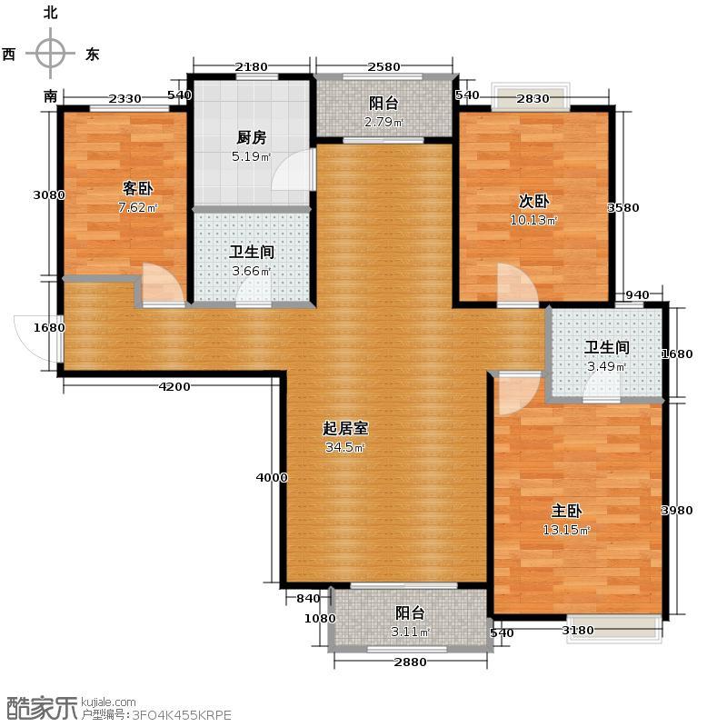 汇锦城119.49㎡安联青年城F户型3室2卫1厨