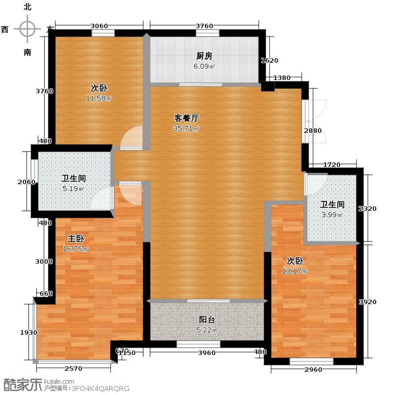 银滩雅苑135.02㎡I户型3室1厅2卫1厨