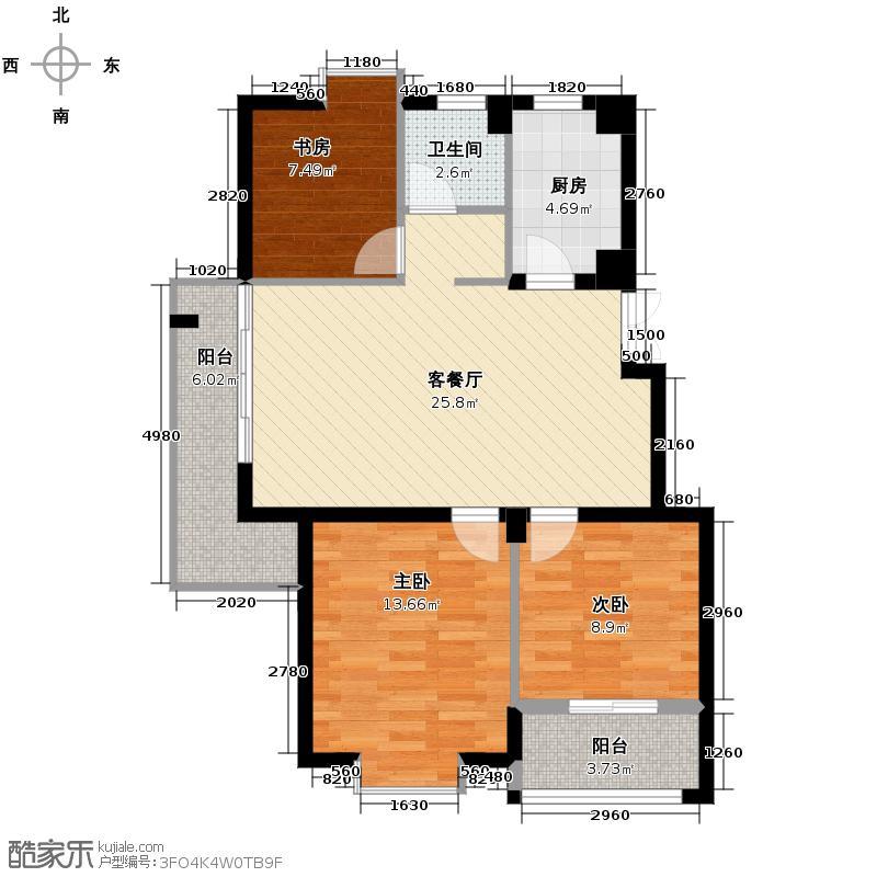 紫爵公寓92.18㎡3号楼A户型3室1厅1卫1厨