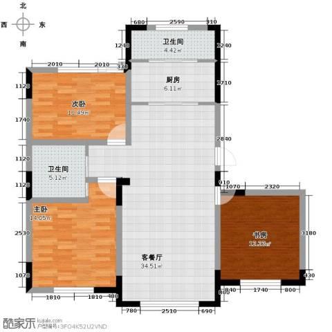 金泽锦城3室1厅2卫1厨111.00㎡户型图