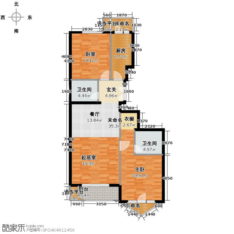 世纪东方城106.23㎡7号楼D(2居)户型1室2卫1厨