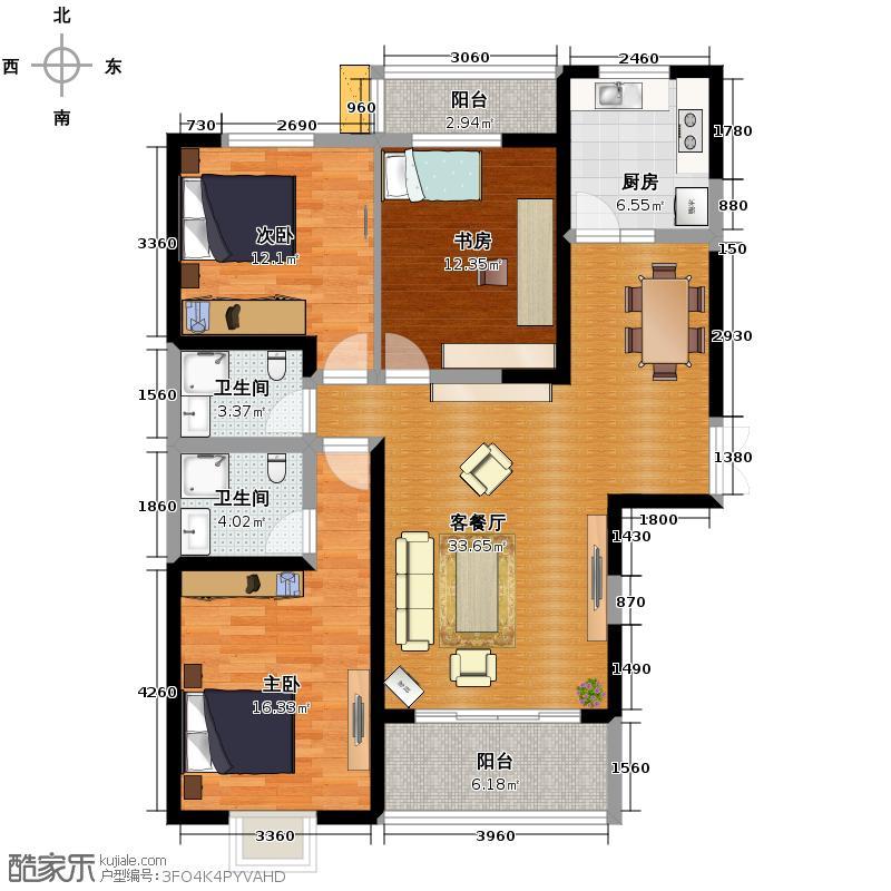 新元绿洲二期108.00㎡C-3-1户型3室1厅2卫1厨