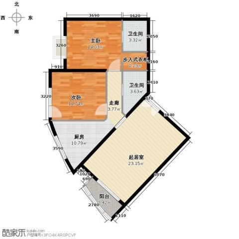 世纪东方城2室0厅2卫1厨103.00㎡户型图