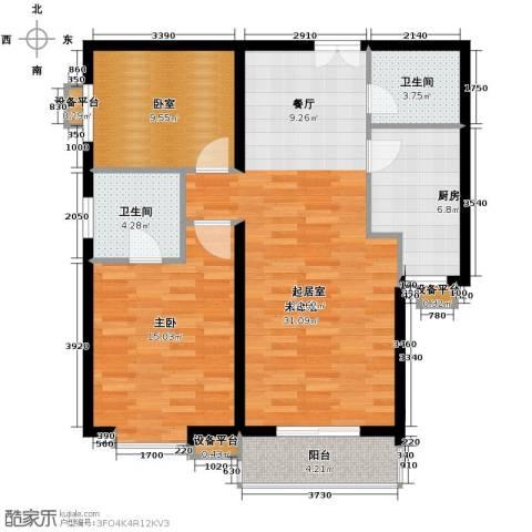 世纪东方城1室0厅2卫1厨85.52㎡户型图