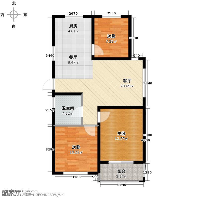 汇锦城117.00㎡江南铭庭4#楼奇数层平面A户型3室1厅1卫