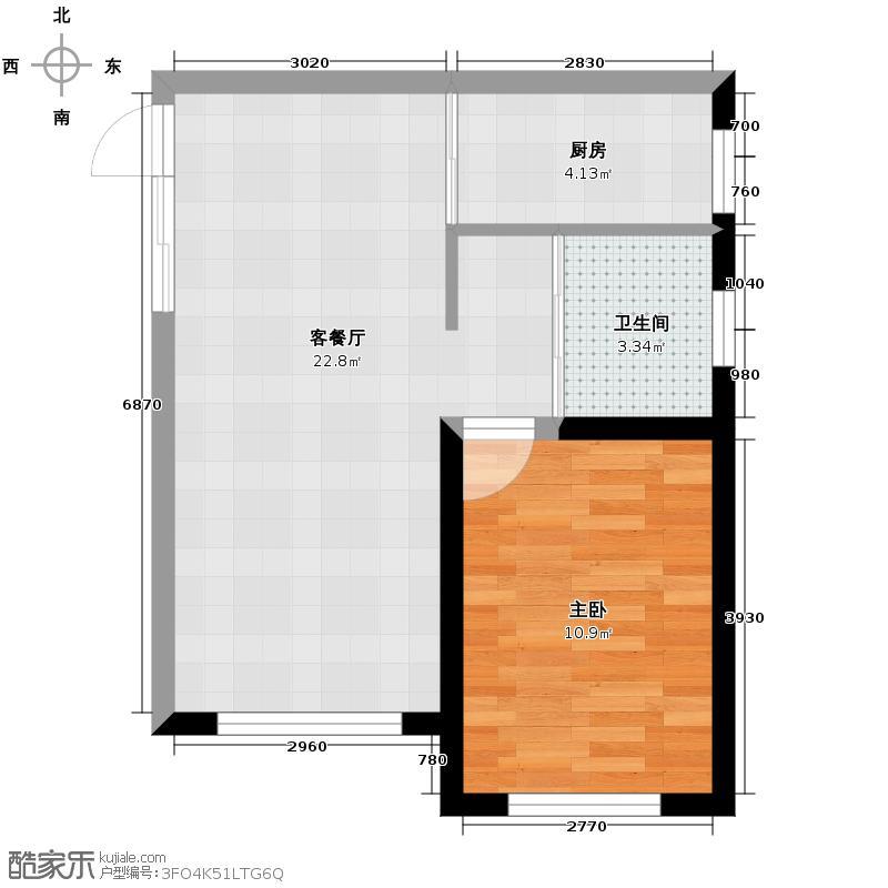 嘉柏湾59.96㎡一期A2户型1室1厅1卫1厨