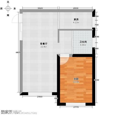 嘉柏湾1室1厅1卫1厨60.00㎡户型图