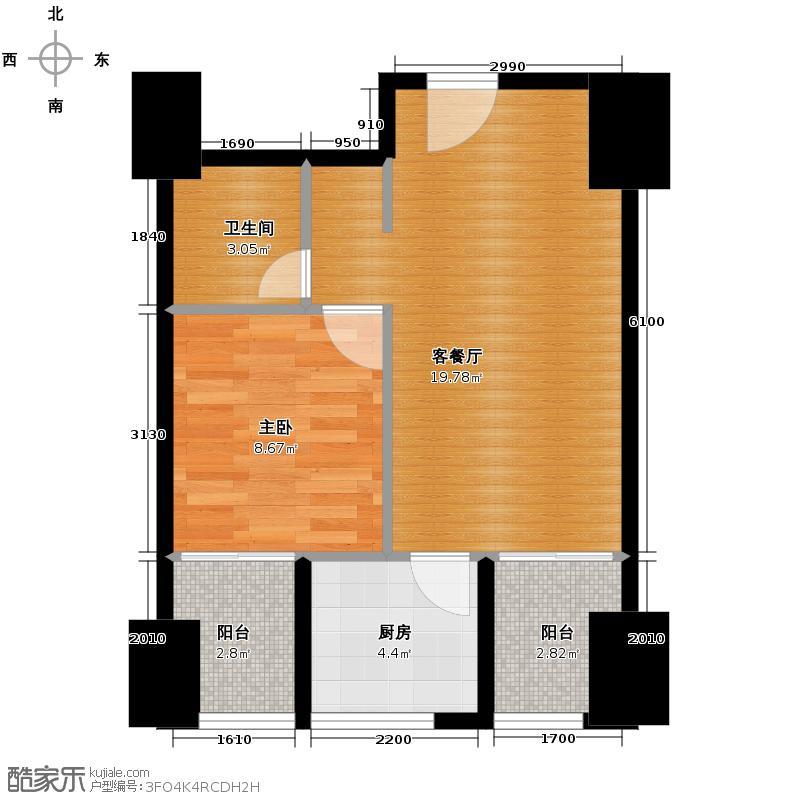 龙泉天立广场56.93㎡电梯8型户型1室1厅1卫1厨