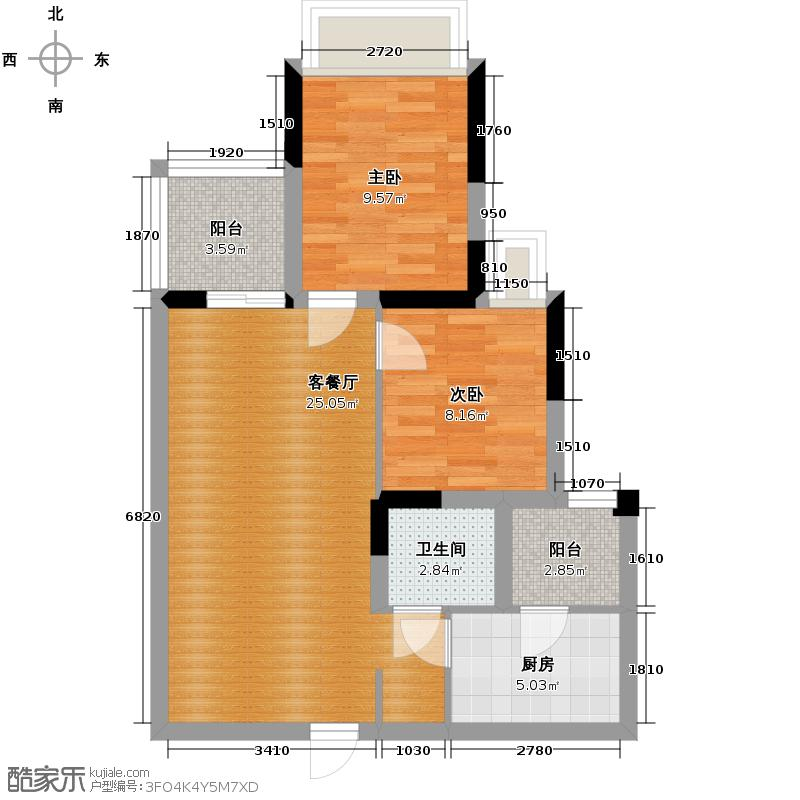 金阳易诚国际77.68㎡二期4号楼标准层B6型户型2室1厅1卫1厨
