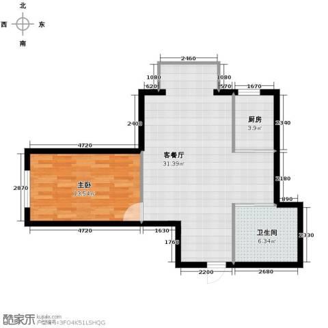 嘉柏湾1室1厅1卫1厨72.00㎡户型图