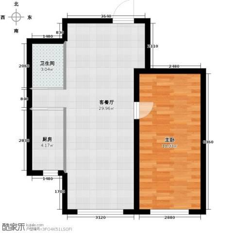 嘉柏湾1室1厅1卫1厨62.00㎡户型图