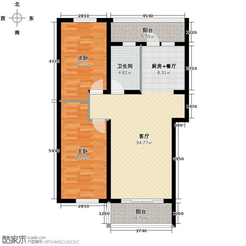 北岸上筑69.60㎡高层户型2室1厅1卫