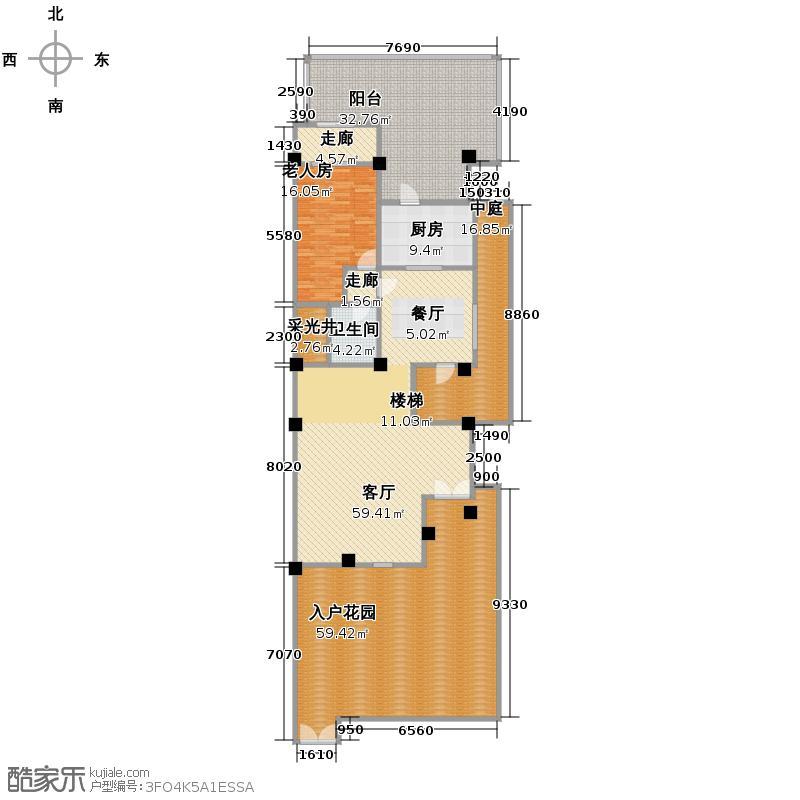 保利麓谷林语221.00㎡别墅S-3A首层户型1室1厅1卫1厨